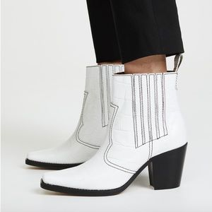 GANNI White Western Ankle Boot